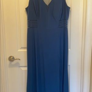 Morgan & Co. Illusion Panel A-Line Gown in Cobalt